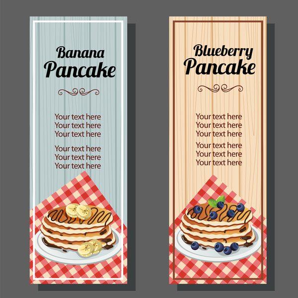 banana blueberry pancake vertical banner vector