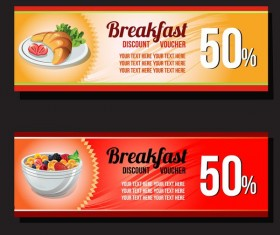 breakfast discount voucher template vector