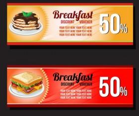 breakfast discount voucher vector