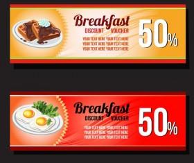 breakfast voucher template vector