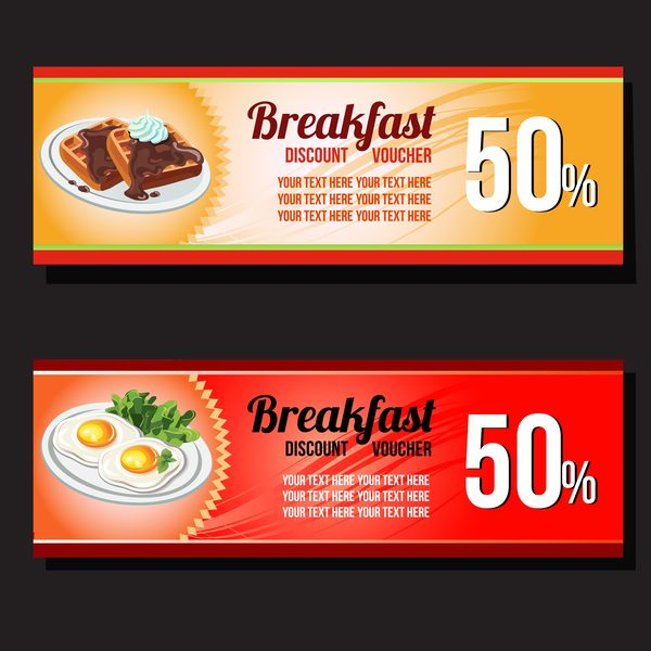 Breakfast Voucher Template Vector  Vector Card Free Download