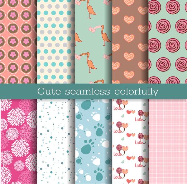 cute seamless pattern vector material 01