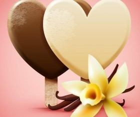 ice cream with vanilla flower vector