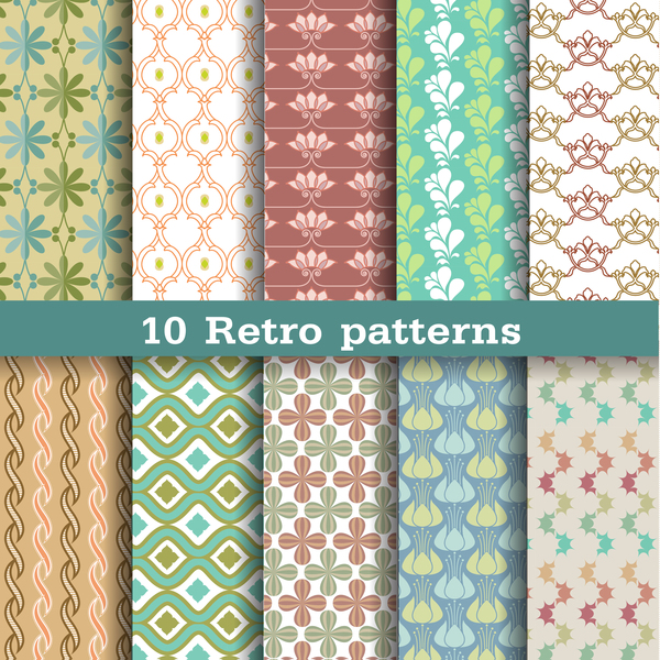 light colored retro seamless pattern vector 01