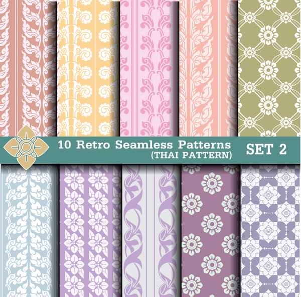 light colored retro seamless pattern vector 02