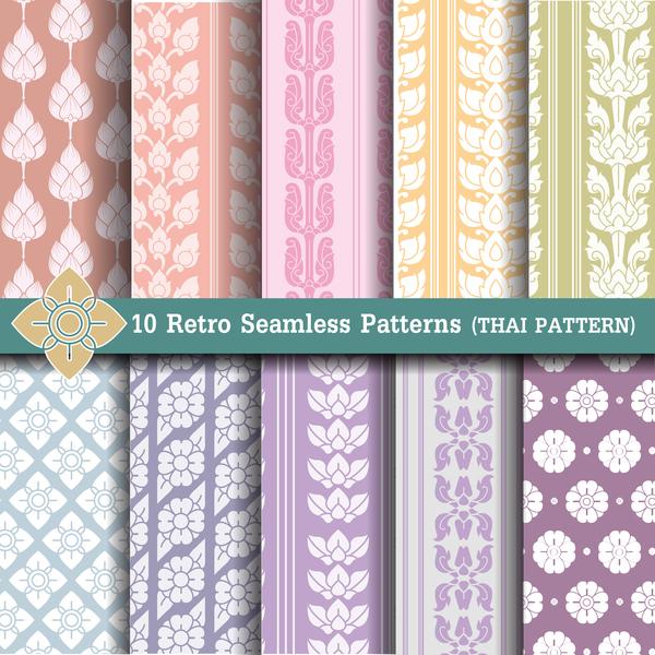 light colored retro seamless pattern vector 03