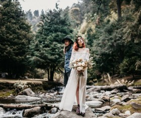 marriage couple posing in nature landscape Stock Photo