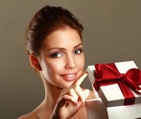 open gift box woman Stock Photo