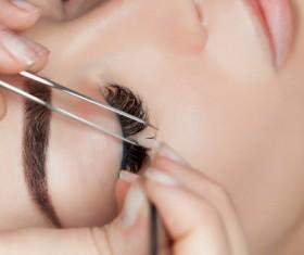 paste false eyelashes Stock Photo 02