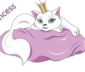 princess white cat vector