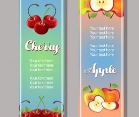 vertical banner of cherry apple vector