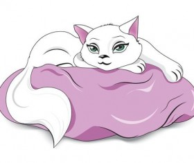 white cat on a pillow vector