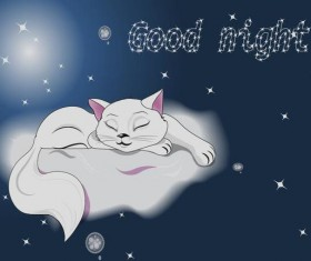 white sleeping cat on a cloud vector