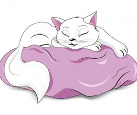 white sleeping cat vector
