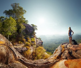 woman on the top of the hill Stock Photo