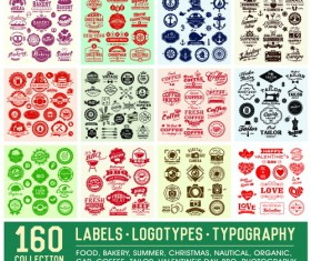 160 Kind summer labels with logotypes vector