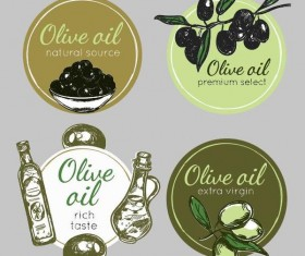 4 Cricles olive oil badge vector
