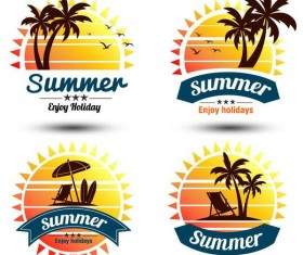 4 Kind palm tree with summer labels vector