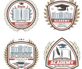 4 Kind vintage school labels vector