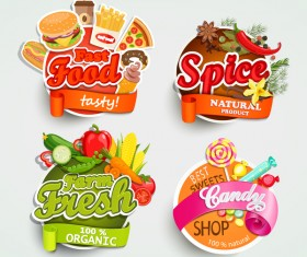 4 food labels vector