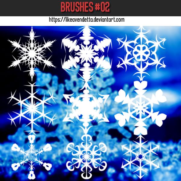 6 Kind Snowflake Photoshop Brushes
