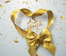 8 march card with golden ribbon bows vector