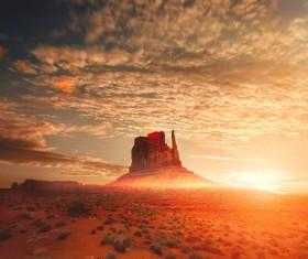 Amazing desert landscape at sunrise Stock Photo