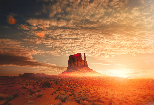 Amazing desert landscape at sunrise Stock Photo