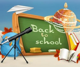 Back to school background with green chalkboard vector 01
