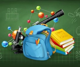 Back to school background with green chalkboard vector 02