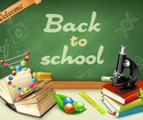 Back to school background with green chalkboard vector 04