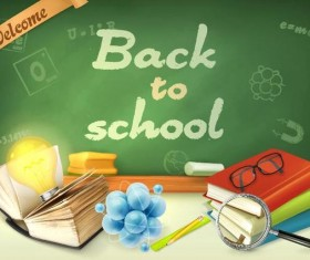 Back to school background with green chalkboard vector 05