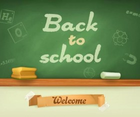 Back to school background with green chalkboard vector 07