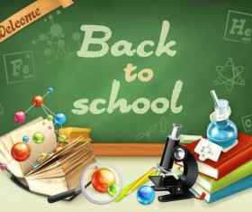 Back to school background with green chalkboard vector 08