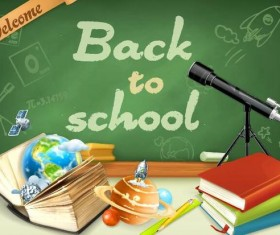 Back to school background with green chalkboard vector 09