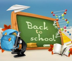 Back to school background with green chalkboard vector 10