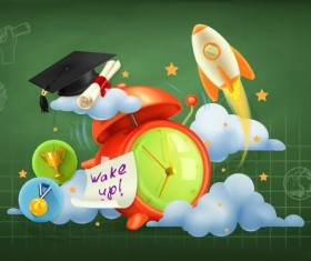 Back to school background with green chalkboard vector 11