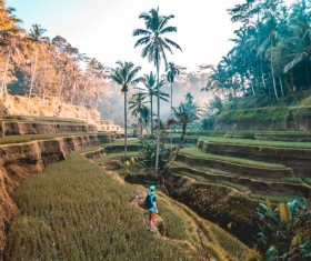 Backpackers traveling in tropical countryside Stock Photo