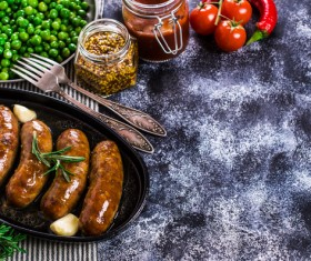 Baked meat sausages Stock Photo 01
