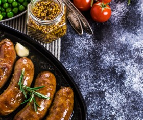 Baked meat sausages Stock Photo 02