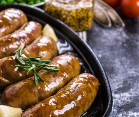 Baked meat sausages Stock Photo 04