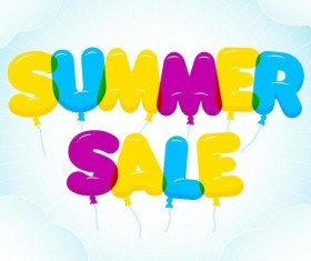 Balloon summer sale text design vector