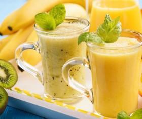 Banana and freshly squeezed banana juice Stock Photo