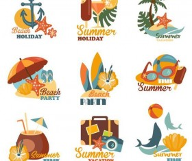 Beach summer labels design vector