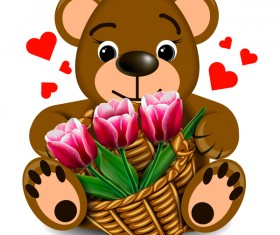 Bear with pink flower vector