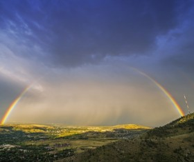 Beautiful double rainbow after the rain Stock Photo