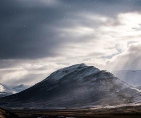 Beautiful frosty mountain landscape Stock Photo