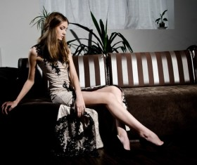 Beautiful girl in cheongsam dress Stock Photo