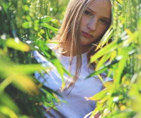 Beautiful girl in wheat field Stock Photo