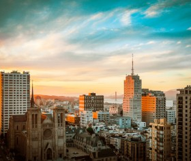 Beautiful modern city at sunrise Stock Photo